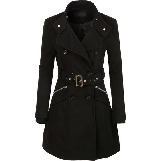 LE3NO Womens Military Double Breasted Trench Pea Coat Jacket and ...