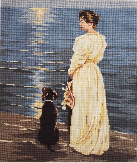0 point de croix femme au bord de la mer avec son chien - cross stitch lady by seaside with her dog