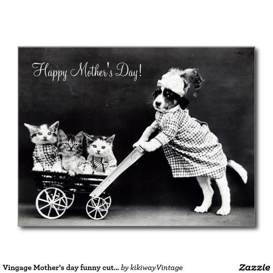 Cão do dia das mães de Vingage & foto bonitos Cartão Postal