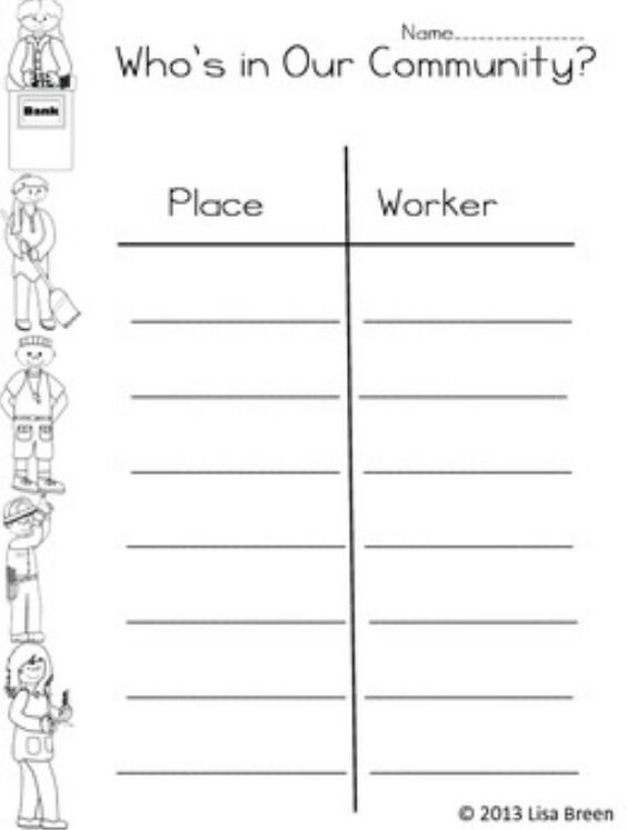 Worksheet Community Workers Worksheets community helpers helper chart and charts on pinterest worksheet