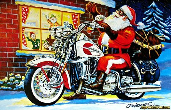 Motorcycle and Biker Christmas Greeting Cards,  Motorcycle -  Motorcycle - Christmas - Holidays -  Motorcycle, Biker, Motorcyclists, Harley, Davidson, Chopper,: