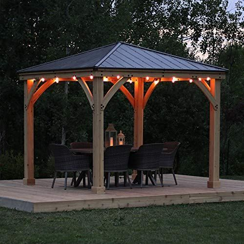 Yardistry 10 X 10 Wood Gazebo With Aluminum Roof Patio Gazebo Backyard Gazebo Outdoor Gazebos