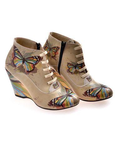 Look what I found on #zulily! Beige Paint Splatter Butterfly Bootie #zulilyfinds