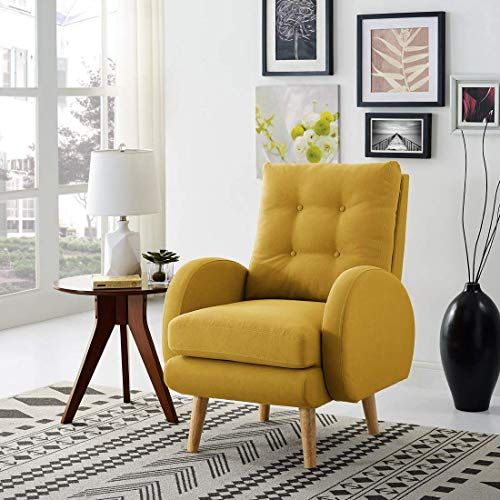 New Lohoms Mid Century Modern Accent Chair Tufted Button Fabric