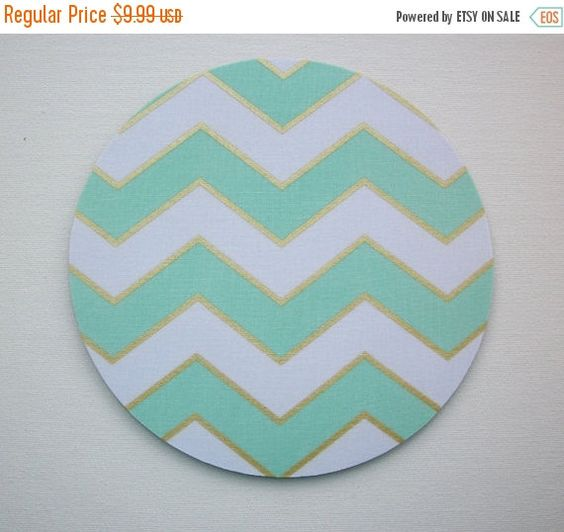 SALE  Mouse Pad mousepad / Mat  round  Shiny gold mint by Laa766  chic / cute / preppy / computer, desk accessories / cubical, office, home decor / co-worker, student gift / patterned design / match with coasters, wrist rests / computers and peripherals / feminine touches for the office / desk decor
