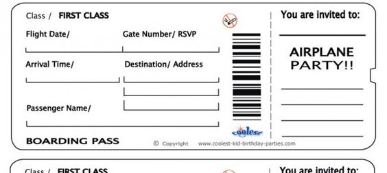 Free Printable Airline Ticket Airline Ticket Invitation Template - blank printable tickets