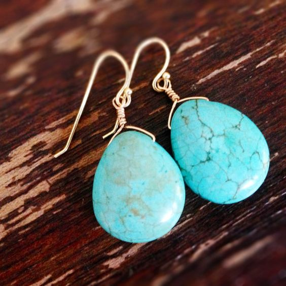 Turquoise Earrings Gold Jewelry Gemstone by jewelrybycarmal, $20.00