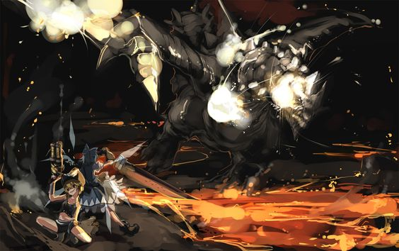 This crossover is all over the place, with Monster Hunter, Final Fantasy VII, and Advent Cirno references.