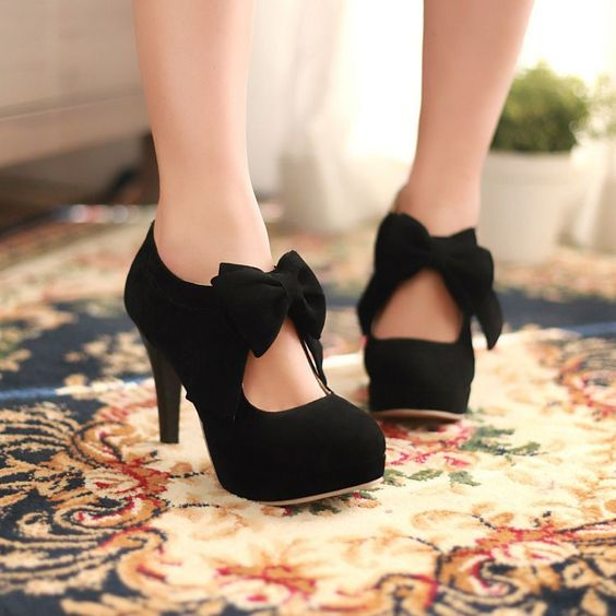 Black WOMENS PARTY BOW HIGH HEELS PLATFORMS STILETTOS PUMPS COURT SHOES SIZE US8 #News #Stilettos