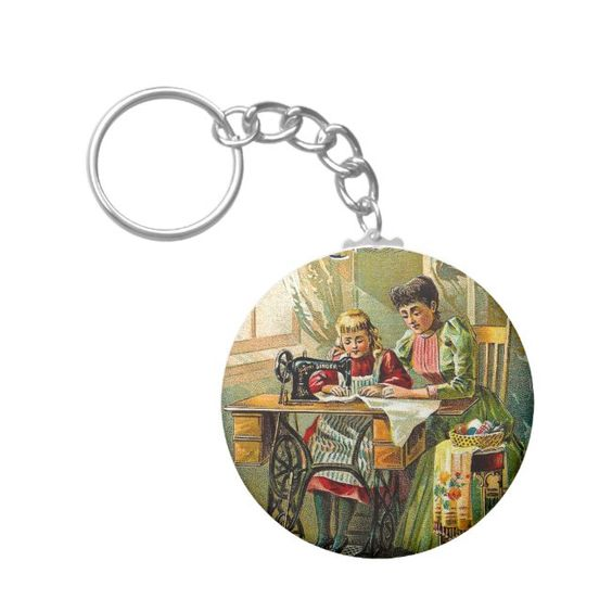"Singer Sewing Machine ""The First Lesson"" Vintage Keychain #singer #sewing #machine #sewing #quilting #Keychain - Take this look back in history."