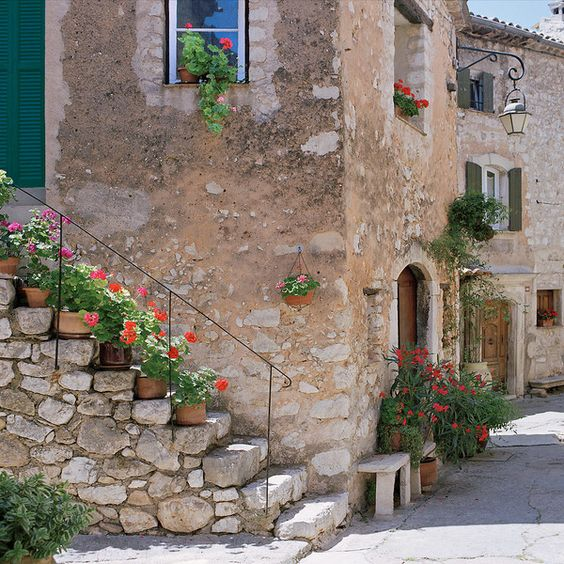Rustic stone exterior in Provence. European Farmhouse and French Country Decorating Style Photos. Afternoon Quiet- Provence, France. #provence #stone #exterior