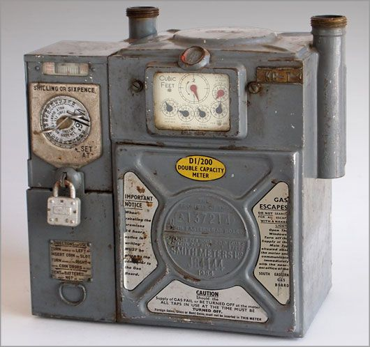 Gas meter box 1960s. Meter man would empty and we got buns that day with refund!