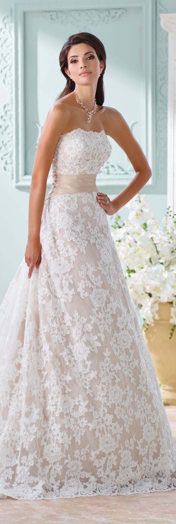 The David Tutera for Mon Cheri Spring 2016 Wedding Gown Collection - Style No. 116219 Yalene #laceweddingdress