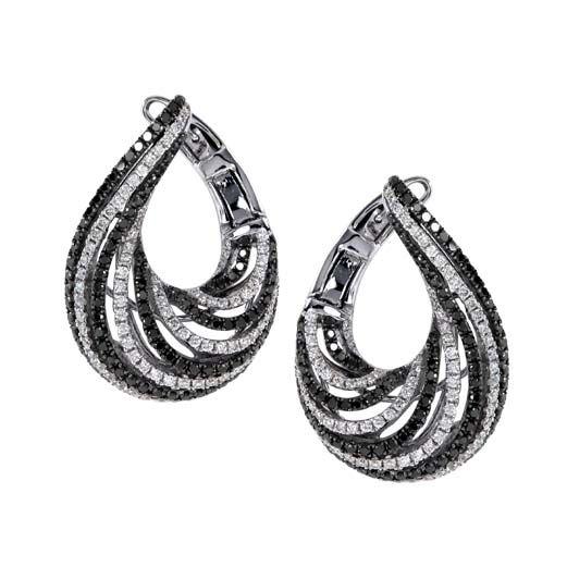 black and white bypass hoop earrings 2326