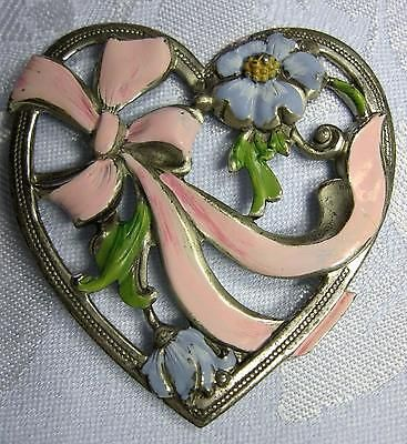 Vintage Coro Craft Sterling Silver Heart Enameled Flowers Bow Pin Brooch