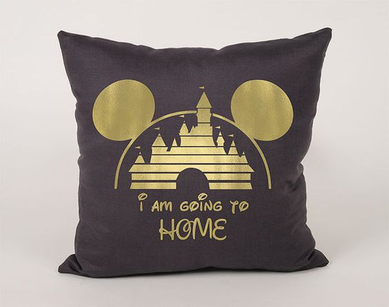 Mickey Castle Home Cotton Throw Pillow Cover  16x16 by Daneeyo