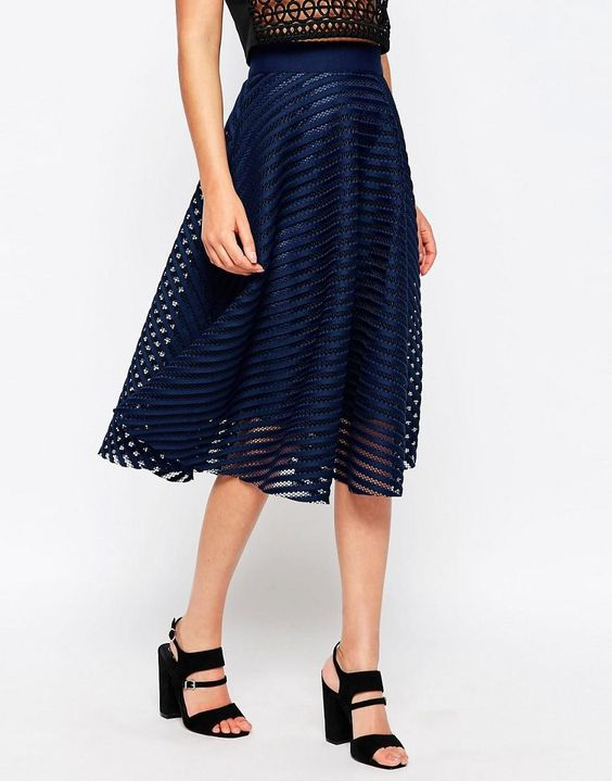New Look | New Look Stripe Mesh Midi Skirt at ASOS