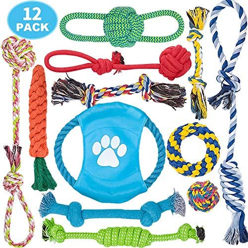 Delomo Dog Rope Toy 12 Pack Dog Rope Toys Natural Cotton Dog Toy