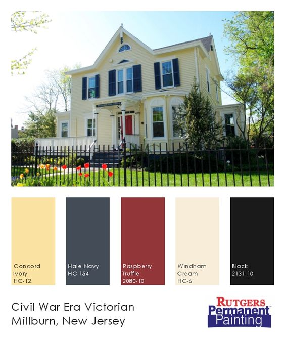 Exterior paint color inspiration yellow navy cream for Exterior yellow paint