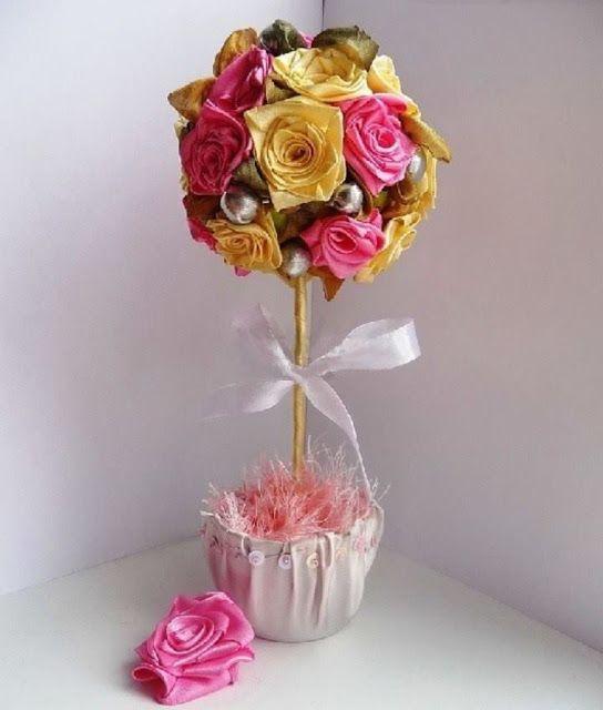 [TOPIARIO MANUALIDADES✄] DIY... Topiario con rosas de cinta satinada