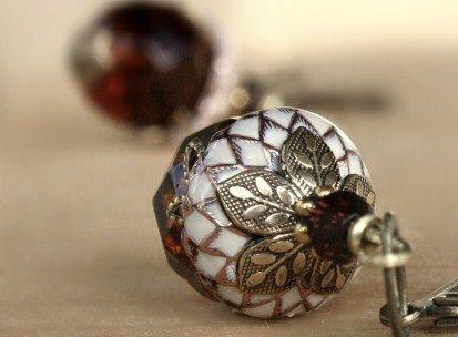 Acorn earrings, dangle, Autumn, Fall, Christmas, crystal, ivory. $38.50, via Etsy.