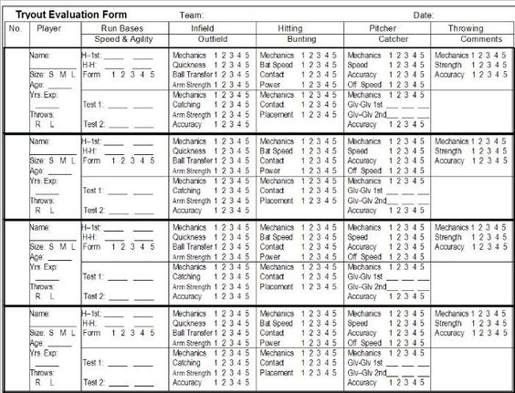 Softball Tryout Player Evaluation Form Soccer Player Evaluation ...