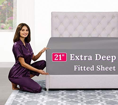 Amazon Com Deep Pocket Queen Fitted Sheet 17 21 Inch Extra Deep Pocket Fitted Sheet Only In 2021 Fitted Bed Sheets King Size Fitted Sheet King Fitted Sheet Queen size deep pocket fitted sheets