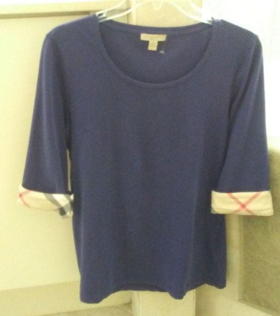 from $28.5 - #Burberry Brit Womens Purple  3/4 Sleeve Check Cuff Jersey Tee Sz L Msrp$125