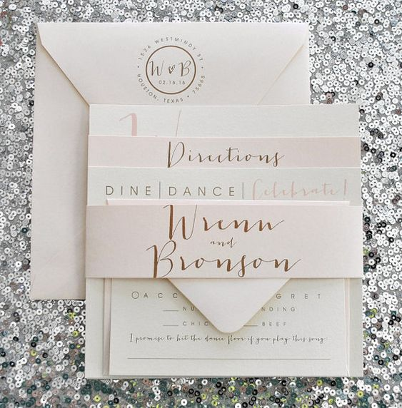 Square Bronson Wedding Invitation Suite With Belly Band
