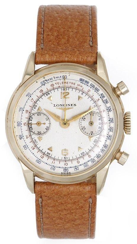 Vintage Longines Chronograph Men's 14k Yellow Gold Watch