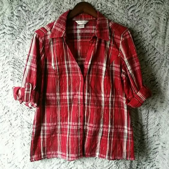 Shiny, sparkling button up shirt Plaid shirt Christopher & Banks Tops Button Down Shirts