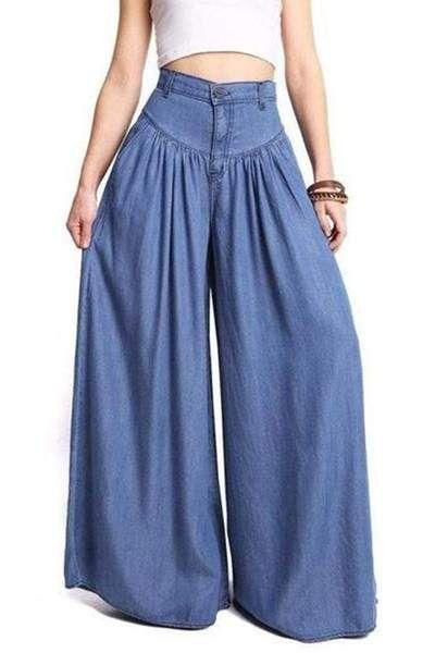 Fitted Cotton Casual Plain Pants Streetwearlooks Casual Wide Leg Pants Wide Leg Denim Fashion