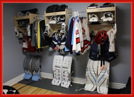 Image Result For Garage Hockey Bags Storage Hockey Equipment Hockey Equipment Storage Hockey Equipment Drying Rack