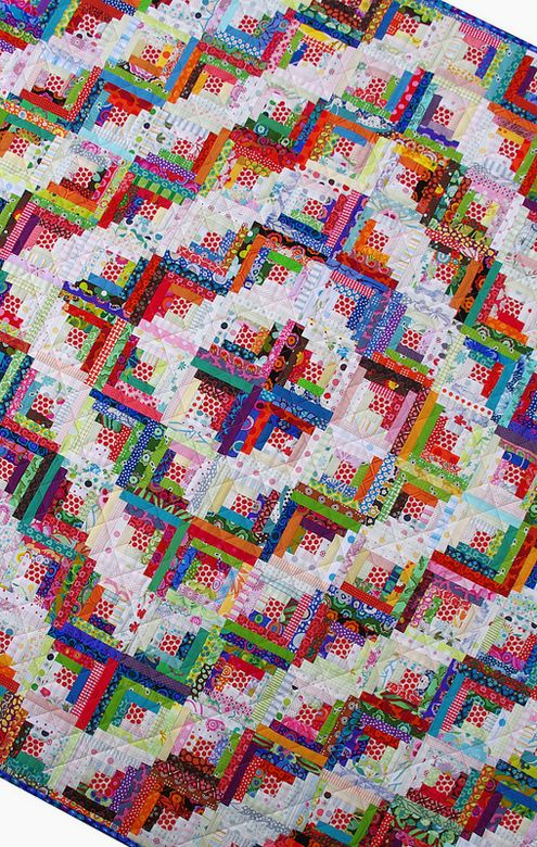 Scrappy Log Cabin Quilt: