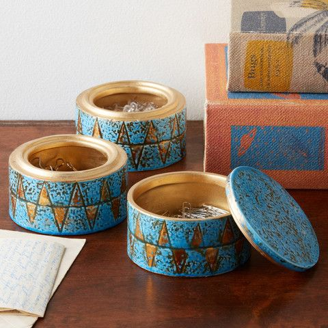 Corcovado Turquoise and Gold Decorative Stacking Boxes design by Tozai