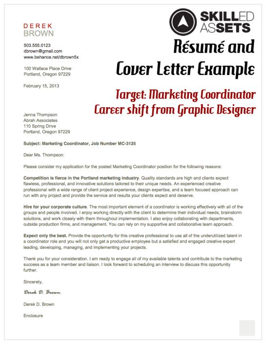 Resume and Cover Letter Example, Target Marketing Coordinator - resume cover letter ideas