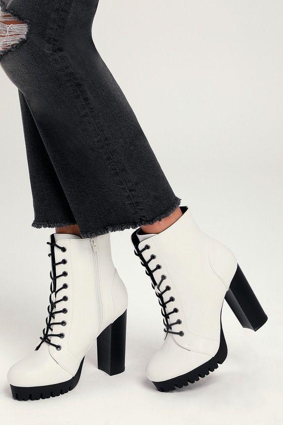 Gigi White Lace-Up Platform Boots
