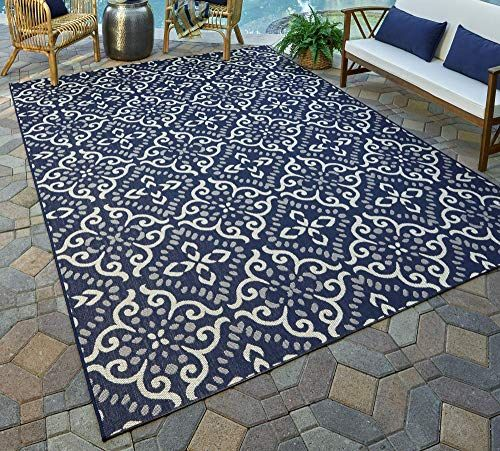 Best Seller Gertmenian 21565 Nautical Tropical Carpet Outdoor Patio Rug 5x7 Standard Navy Blue Floral Medallion Online Newtrendylook In 2020 Patio Rugs Outdoor Rugs Patio Large Outdoor Rugs