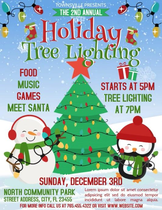 Tree Lighting In 2020 Holiday Poster Christmas Flyer Christmas Tree Lighting
