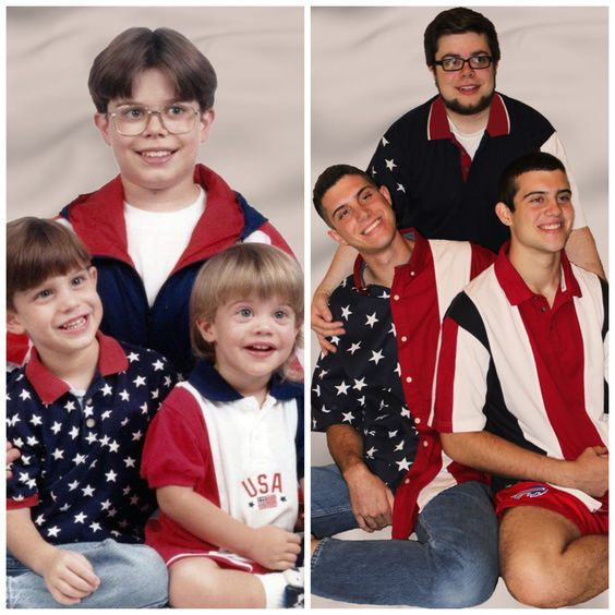 Recreated childhood photos patriotic