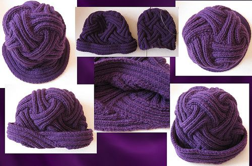 Carmela Biscuit knits the ribbed entrelac hat