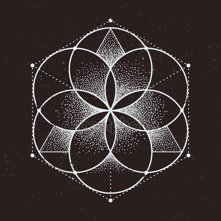 Resumen geometría sagrada. Patrón simétrico geométrico aislado sobre fondo oscuro. Ilustración de vector de estilo Dotwork