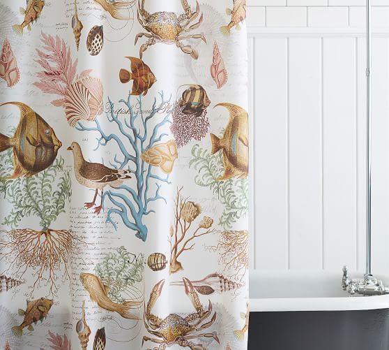 Sea Life Print Shower Curtain Bath Shower Curtains Pottery