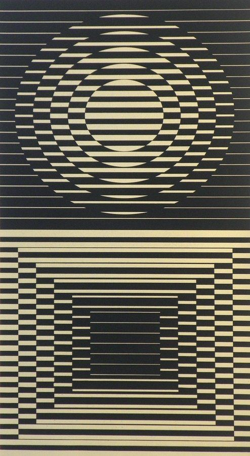 """Designer & Manufacturer: Victor Vasarely  Markings: signed; e. 135/150  Country of Origin & Materials: Hungarian; lithograph  Additional Information & Circa: Lithograph by Victor Vasarely (1908-1997). The Collectors Guild, Ltd. (New York) label on reverse. """"Denise Rene Editeur"""" blind stamp. Vasarely is well listed and known as a founder of Optical Art. His works are included in almost every museum in the world having a collection of contemporary art.  Dimensions: 27.25""""h, 13.75""""w; 32""""h…"""