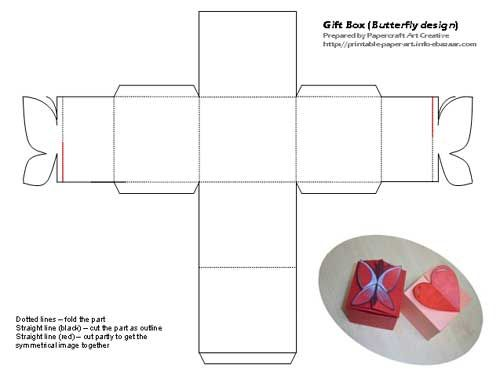 Printable butterfly and heart shaped tiny gift box templates