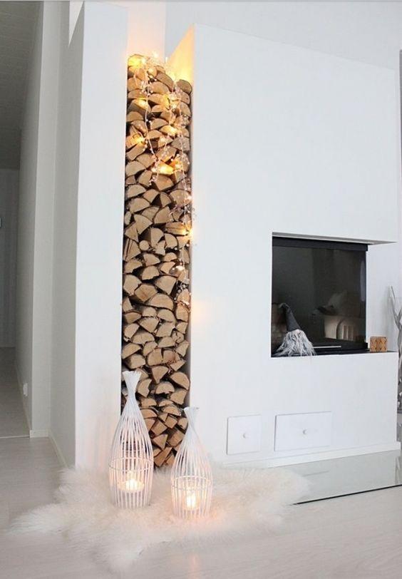 Estantería para troncos de leña chimenea / ¡Llévate la terraza dentro de casa! #hogarhabitissimo  #nordic