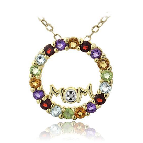 Glitzy Rocks 18k Gold over Silver Multi Gemstone Diamond Accent MOM Necklace