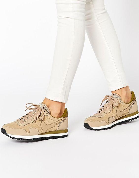 Nike | Nike Air Pegasus 83 Beige Leather Trainers at ASOS