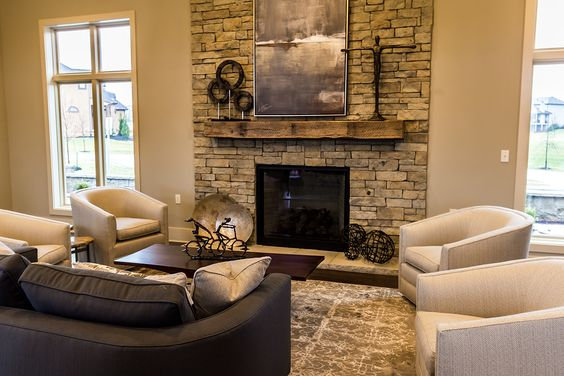 Warm up by this cozy fireplace at WatersEdge Overland Park KS