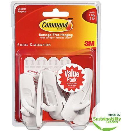 Command Medium Hooks Value Pack, White, 6 Hooks, 12 Strips
